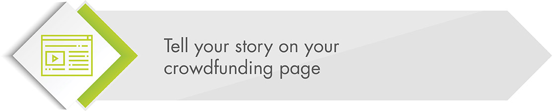 Use your crowdfunding page to tell your story.