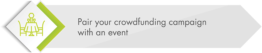 Promote your crowdfunding campaign with an event.